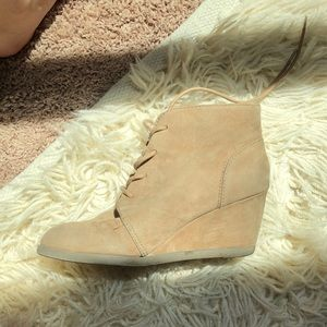 Tan Suede Lace-Up Booties